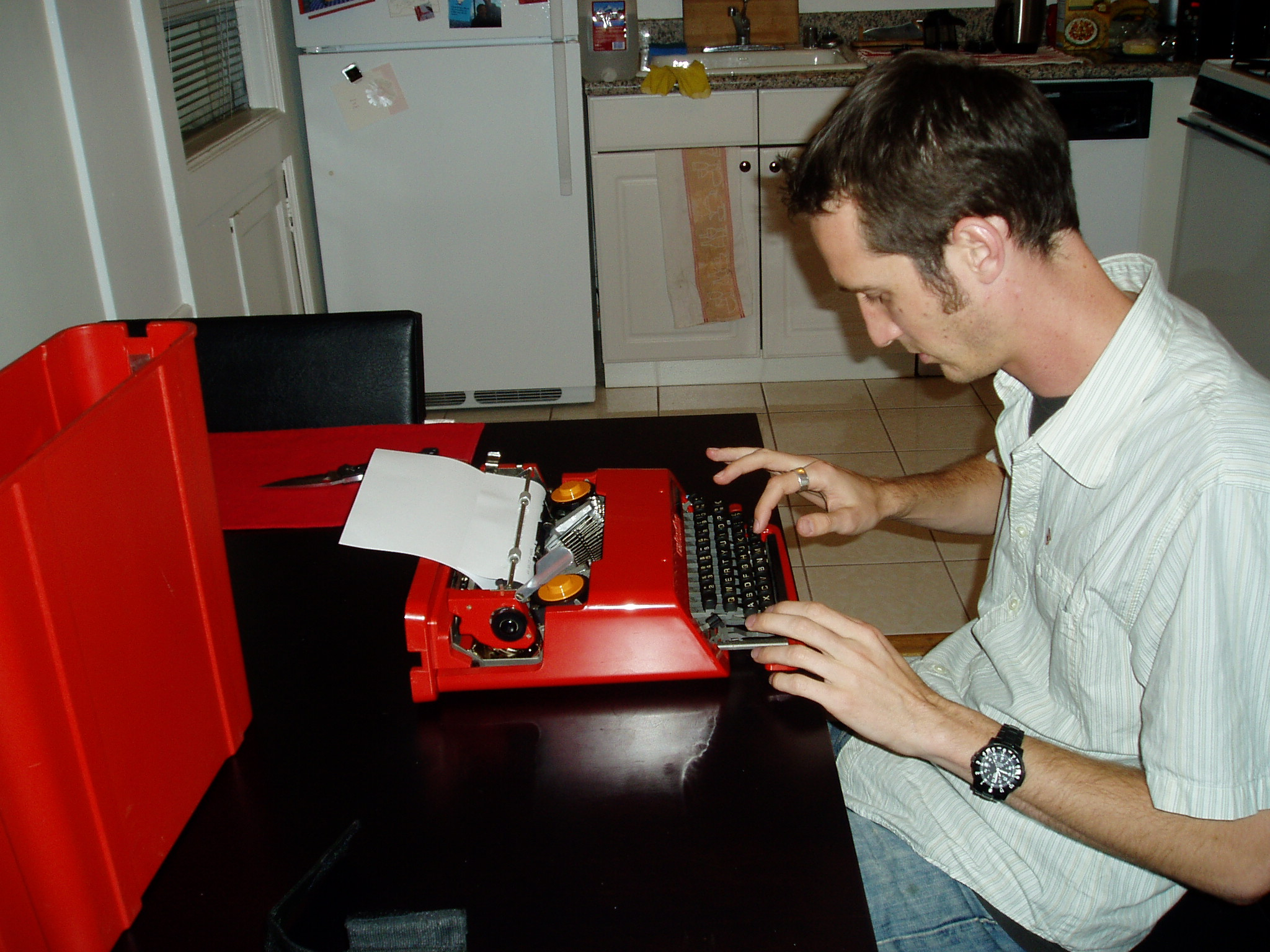 Me, Typing on the Olivetti Valentine