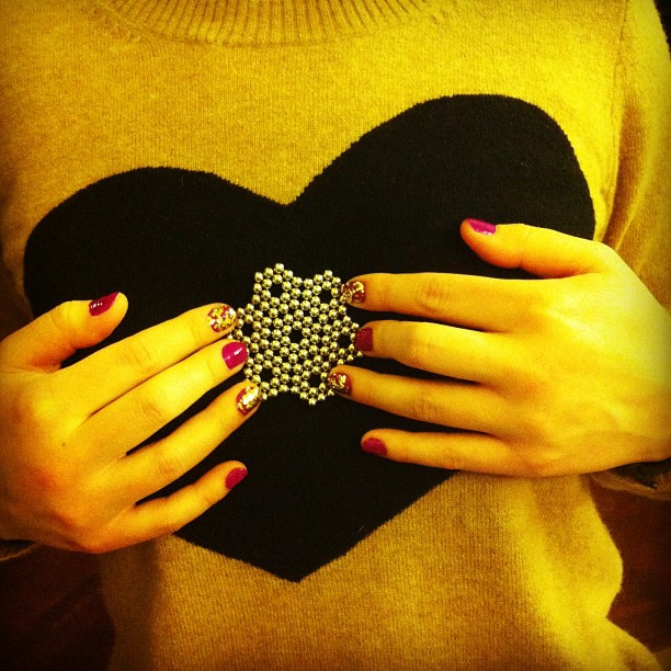 Glitter nails BuckyBalls snowflake love heart!