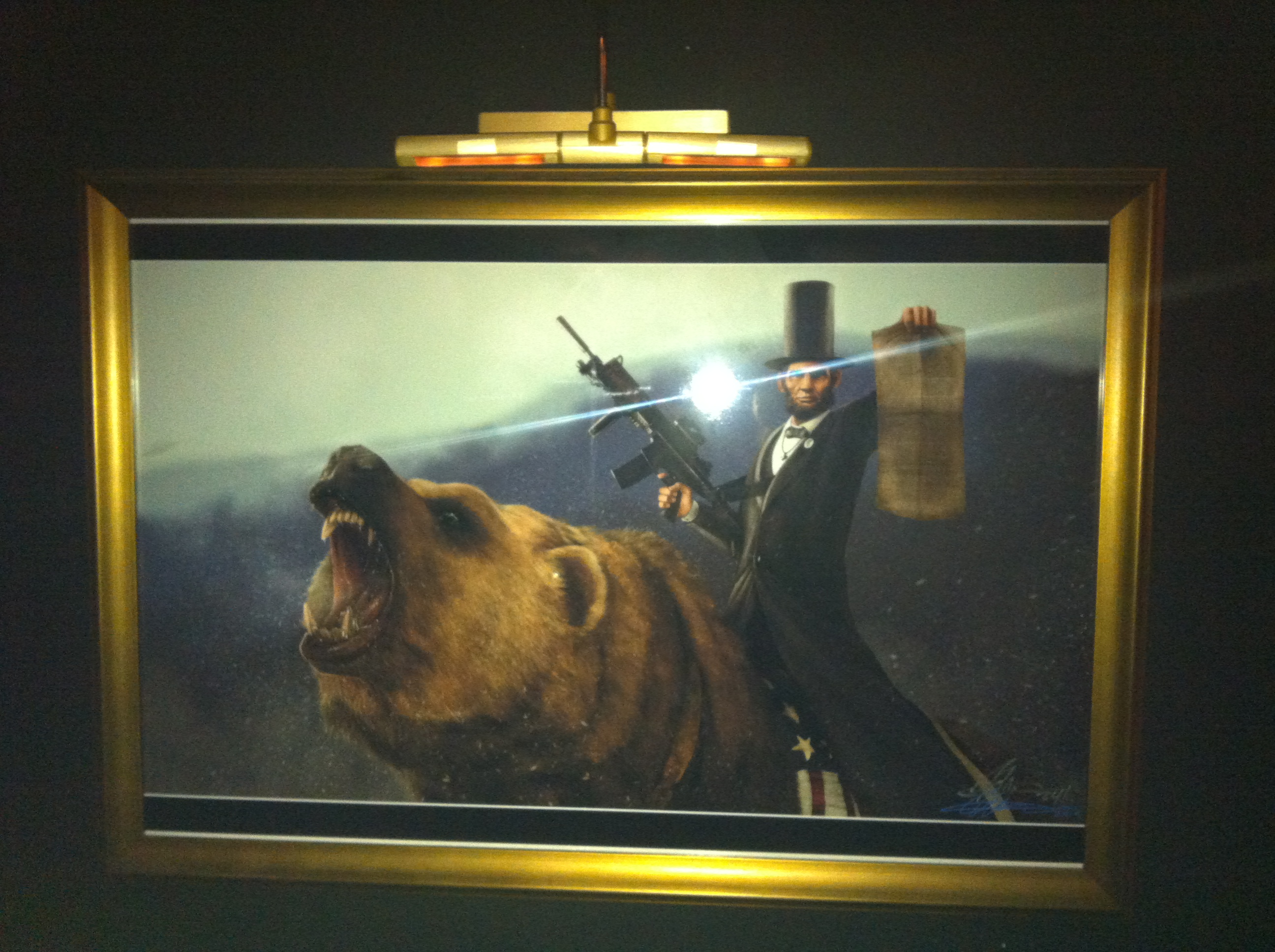 Lincoln, on a Bear, with a Tommy Gun