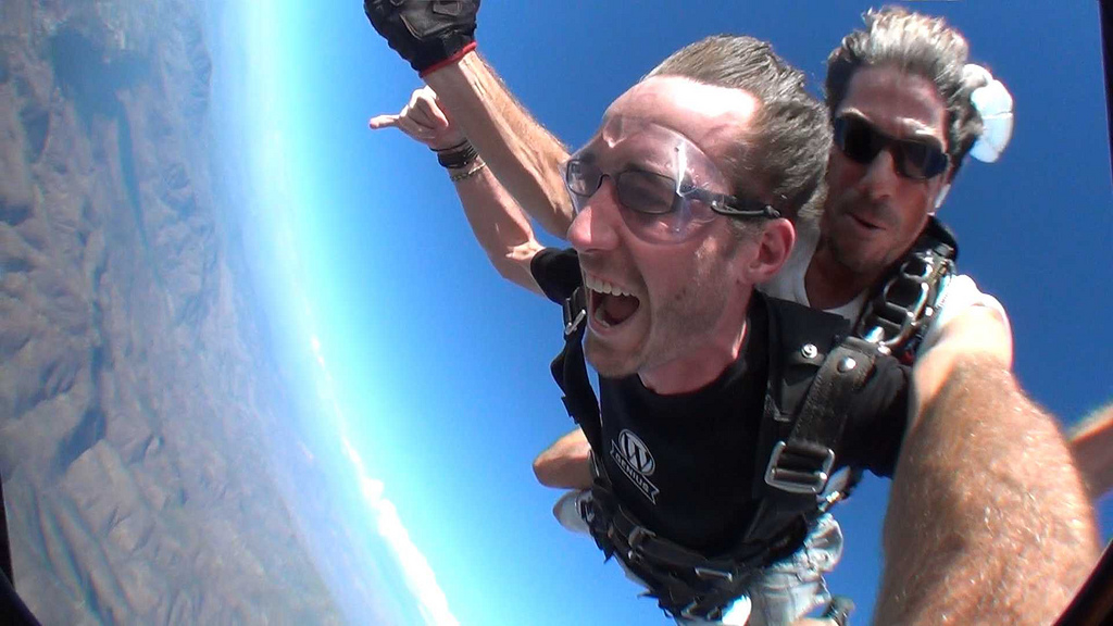 Me skydiving in San Diego, during a work trip :)