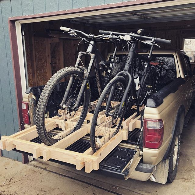 Now the proud owner/creator of the most unnecessarily complicated bike rack known to man. I call it the Jenga Rack. #mountainbiking #riding #bikes #truck #rack #bikerack