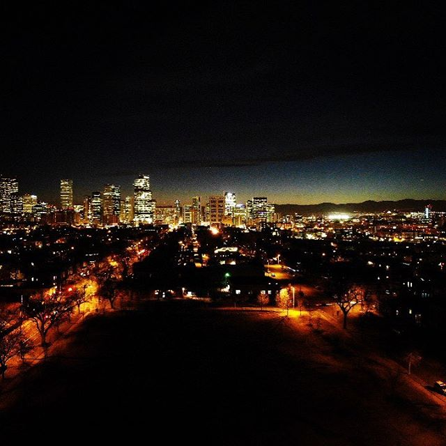 Denver skyline by night #drone #dronephotography