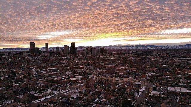 Nice sunset Denver! #dronestagram #sunset #skyline #cityscape #djimavicair #nofilter