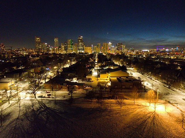 Denver winter skyline.
