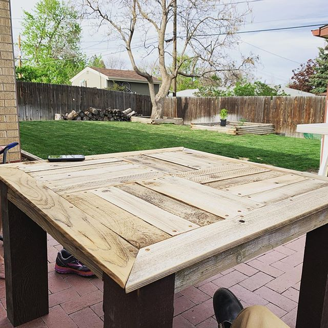 "My first commissioned ""piece"". Made this table for @melbrace303 today from reclaimed fence and pergola wood."